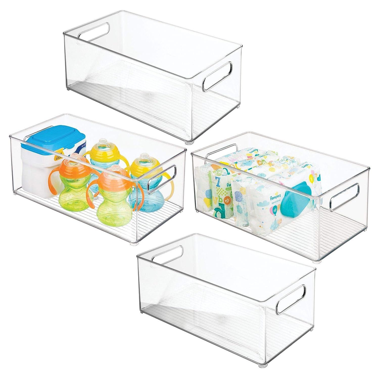 mDesign Juego de 4 cestas organizadoras para artículos de bebé – Contenedor plástico con asas para un cómodo transporte, sin tapa – Caja para bebé para guardar juguetes, pañales y más – transparente MetroDecor 6764MDB