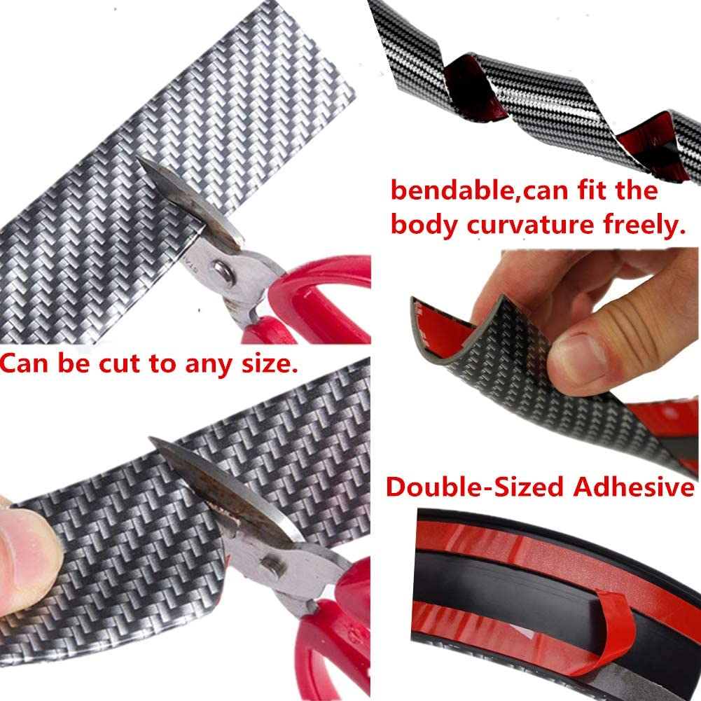 WeFoonLo Universal Carbon Fibre Car Door Sill Guards Protector Self-Adhesive Flexible Car Sticker Protector for Car SUV Truck Door Entry Guards,3x250cm//1.2x98.4 inches WL