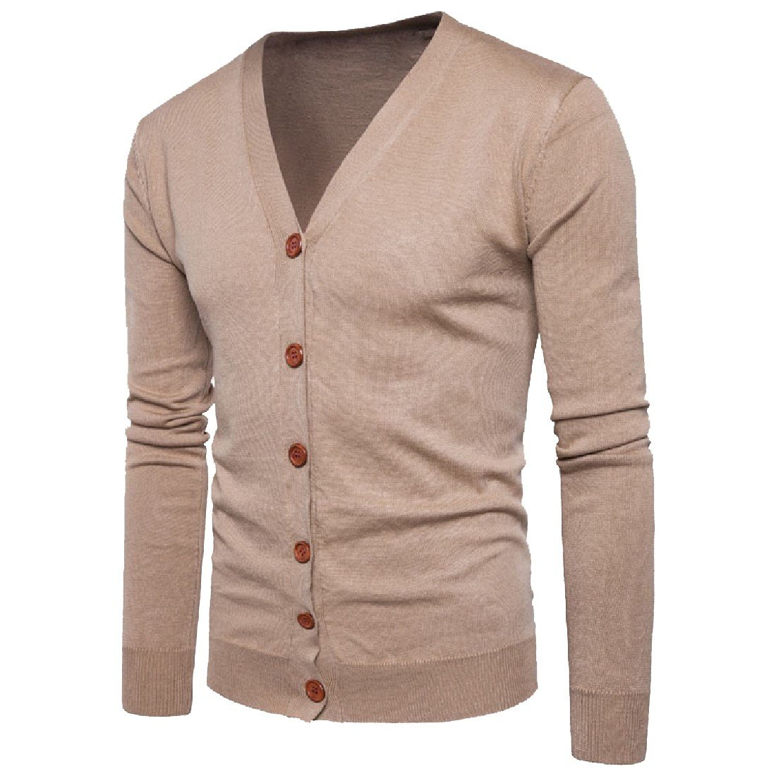 Winwinus Mens Sweater All-Match Knitted Versatile Pure Colour Cardigan