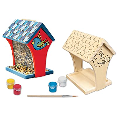 MasterPieces Works of Ahhh Real Wood Small Acrylic Paint & Craft Kit, Silk Screened Bird Feeder, for Ages 4+: Toys & Games