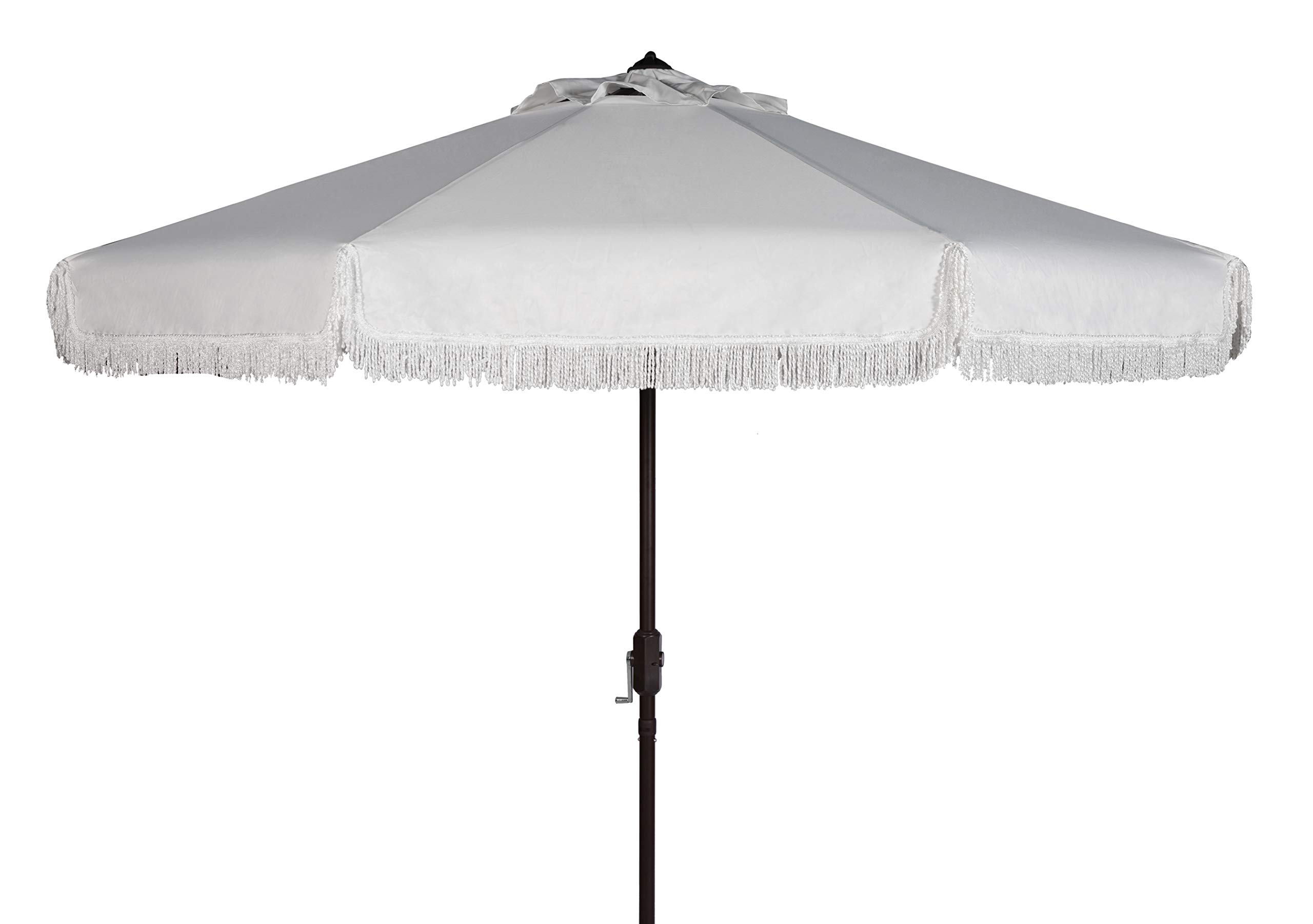 Safavieh PAT8008C Collection Milan Fringe White 9Ft Crank Outdoor Push Button Tilt Umbrella