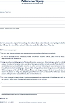 RNK-Verlag Formulare 2895 Patientenverfügung Vorsorgevollmacht DIN A4 Set