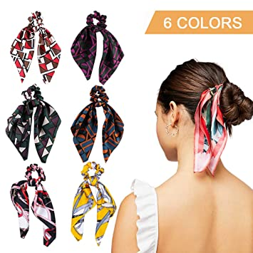 deb5af7c89600 Amazon.com : 6Pcs Hair Scrunchies Silk Elastic Hair Bands Hair Scarf  Ponytail Holder Scrunchy Ties Vintage Accessories for Women Girls : Beauty