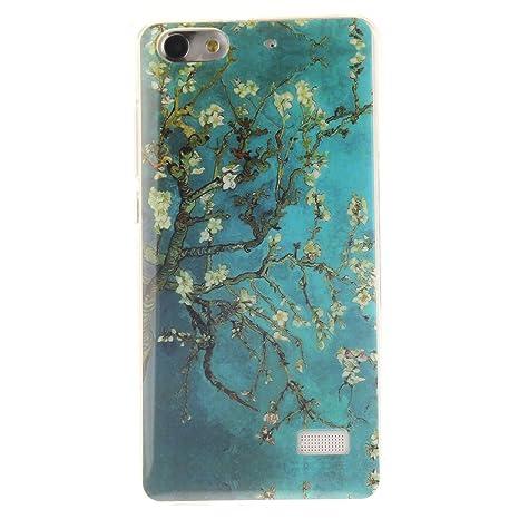 Guran® Silicona Funda Carcasa para Huawei G Play Mini Smartphone Case Bumper Shock TPU Cover-Árbol de flores