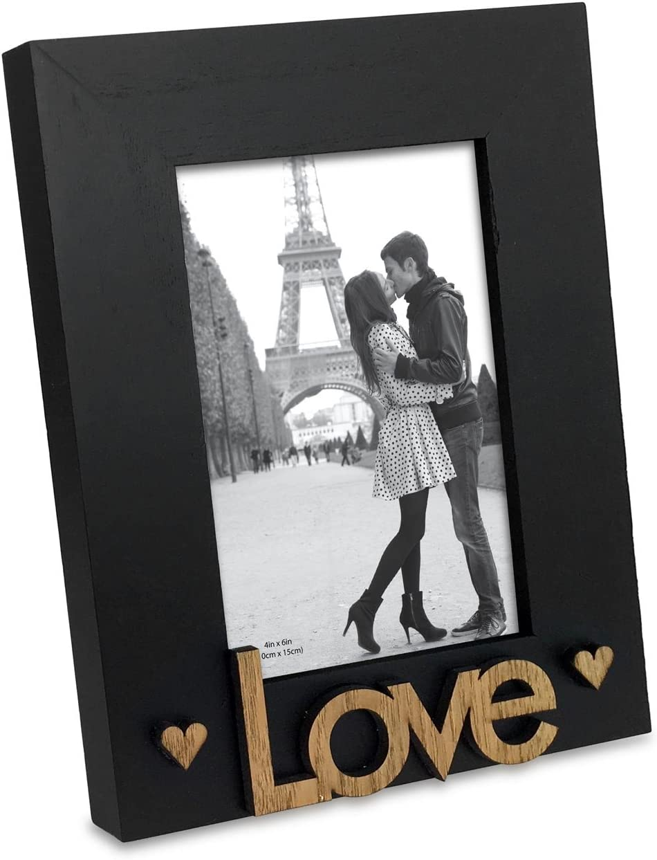 """Isaac Jacobs Black Wood Sentiments """"Love"""" Picture Frame, 4x6 inch, Photo Gift for Loved Ones, Family, Display on Tabletop, Desk (Black, 4x6)"""