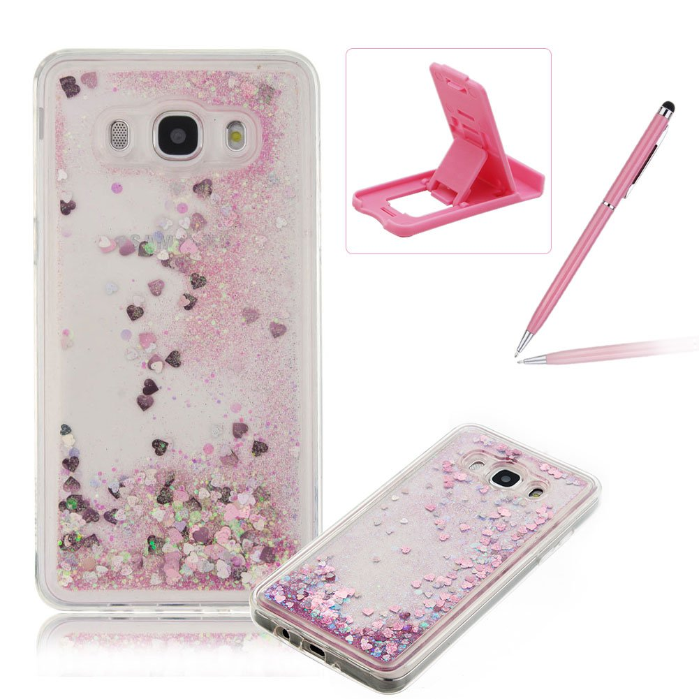 Liquid Case for Samsung Galaxy J5 2016 J510, Silicone Case for Samsung Galaxy J5 2016 J510, Herzzer Creative Luxury Design Flowing Liquid Quicksand Floating Bling Glitter Sparkle Stars Love Hearts Triangle Sequin Anti Scratch Bumper Rubber Back Cover For S