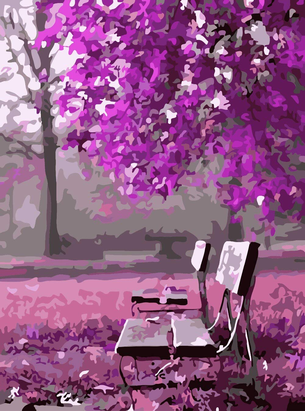 DIY Paint by Numbers Kit for Adults - Purple World   Paint by Number Kit On Canvas for Beginners   Home Wall Decor   Pre-Printed Art-Quality Canvas 20'' x 16'', 3 Brushes, 24 Acrylic Paints by Alto Crafto