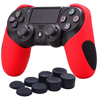 YoRHa Silicone Half Extra Thick Cover Skin Case for Sony PS4/slim/Pro Dualshock 4 Controller x 1(red) with Pro Thumb Grips x 8