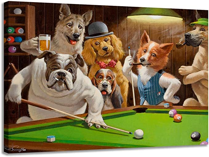 Impresión moderna en lienzo perro jugando billar pintura al óleo artista decoración del hogar póster en la pared: Amazon.es: Bricolaje y herramientas