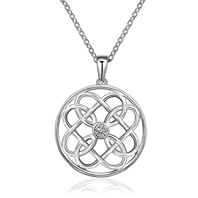 162958da82540 MONBO 925 Sterling Silver Lucky Irish Celtic Knot Love Infinity Pendant  Necklace Jewellery for Women (Round)  Amazon.co.uk  Jewellery