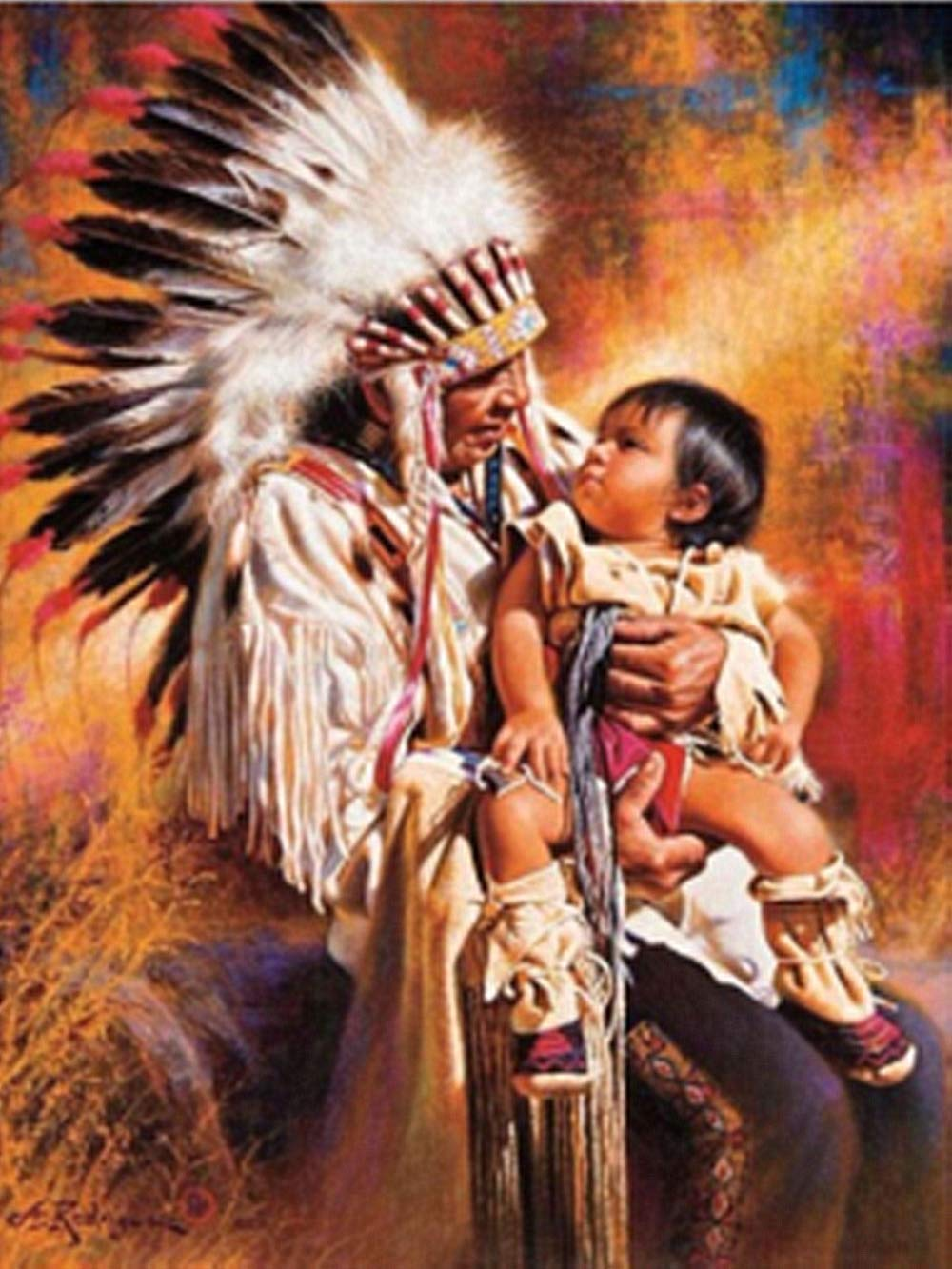 May Trees Diamond Painting Full Drill 5D Diamond Painting Kit Native American Patriarchs and Child Arts Craft for Home Wall Decor Gift DIY Painting by Diamonds