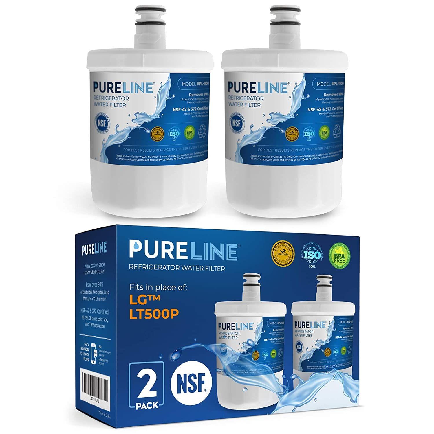 Kenmore 9890 and LG LT500P Water Filter Replacement. Also Compatible with LG gen11042fr-08, and Kenmore 9890. Designed to Exact Fit and Standard as Original.- PURELINE (2 Pack)