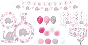 Serves 30 | Complete Party Pack | Elephant Baby Shower Tableware Kit | Plates | Cups | Napkins | Table Cover | Balloons | Lanterns | Swirls | Pom Pom | Elephant Banner | Ideal for Elephant theme baby shower decorations for girls | It's a girl