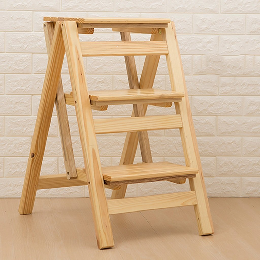 B tideng Solid Wood Step Stool Home 3 Step Ladder Folding Multi-Function Stairs Step Stool Chair Indoor Climbing Ladder Simple Wooden Ladder Stool (color   B)