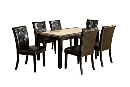 Image Unavailable  sc 1 st  Amazon.com & Amazon.com - Furniture of America Taveren 7-Piece Faux Marble Dining ...