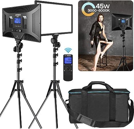 Todo para el streamer: IVISII Kit de iluminación para fotografía con luz de video bicolor 480 LED, paquete de 2, CRI + 97 3000-8000k Panel con control remoto inalámbrico, para grabación de video de estudio YouTube