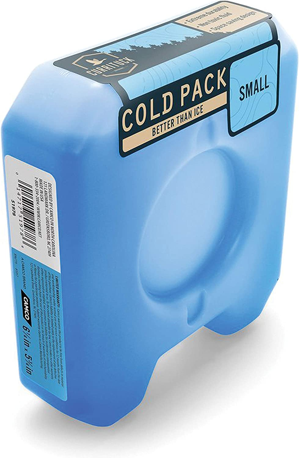 Camco Small Currituck Reusable Freezer Cold Pack for Coolers and Lunch Boxes These Cool Ice Packs are Perfect for Camping, Hiking, the Beach and Travel (51978)