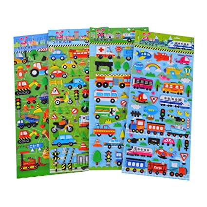 79e86a3b104e Buy YeahiBaby 10 Sheets 3D Puffy Stickers Vehicles Cars Scrapbooking  Crafting Stickers for Kids Online at Low Prices in India - Amazon.in