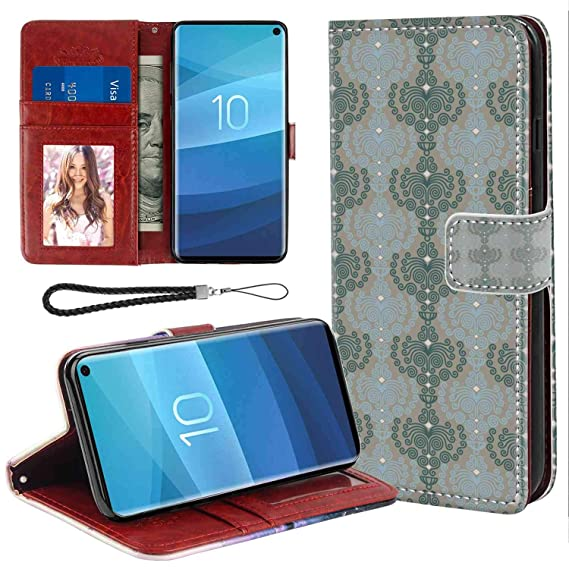 Amazon Com Samsung Galaxy S10 Wallet Case Floral Abstract Art