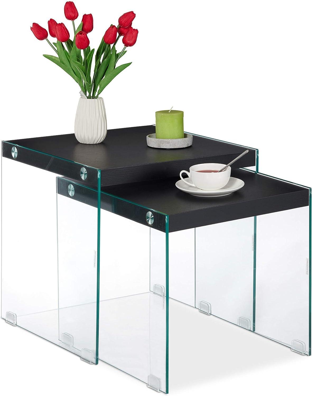 Cristal-DM Set 2 Unidades Mesitas Auxiliares de Dise/ño Cuadradas 40-45 cm de Alto Negro Relaxdays Mesas Nido