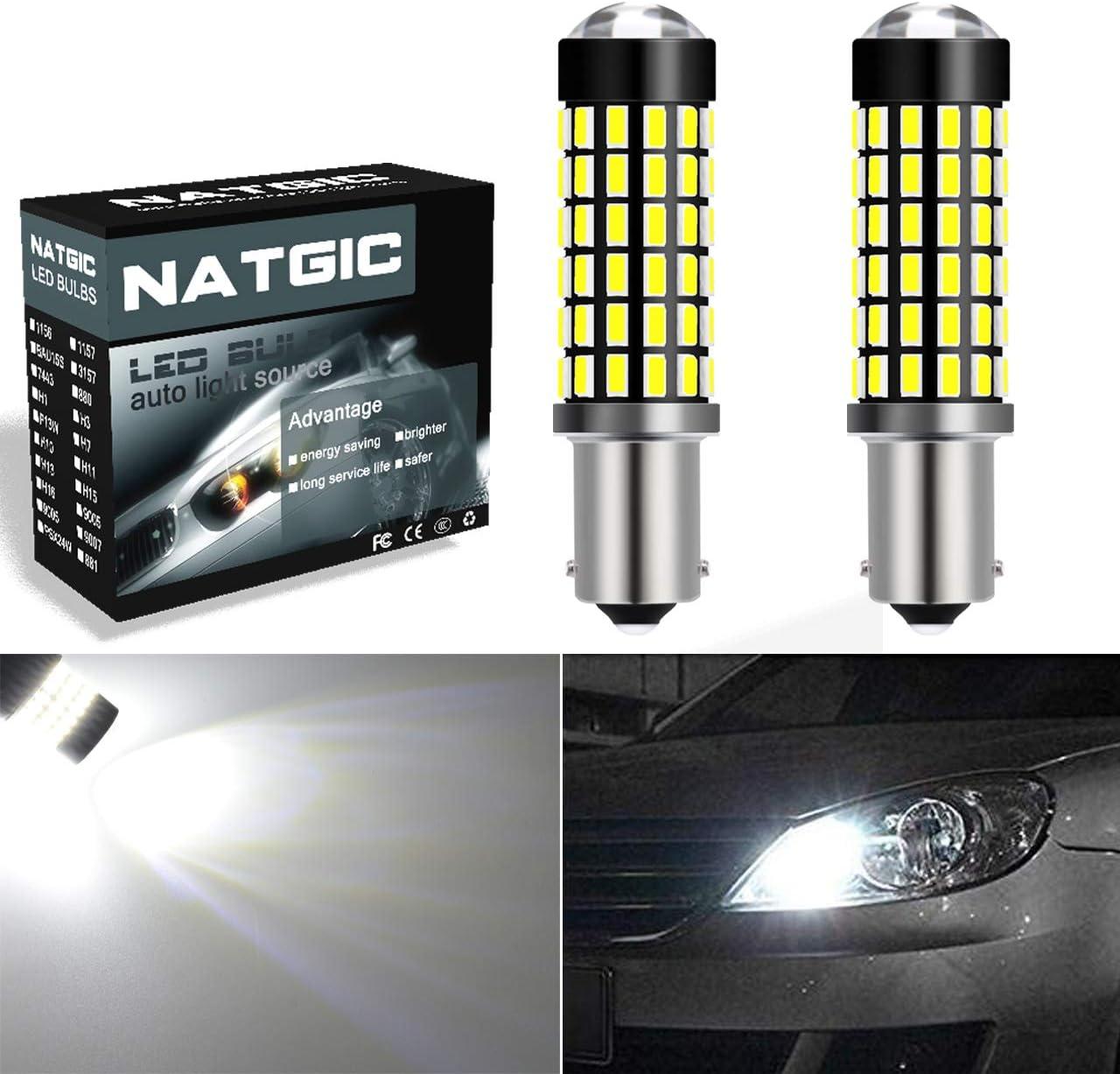 NGCAT BA9S BA9 1895 64111 Bombillas LED para luces de marcha atrás con respaldo de cola de freno, Xenon White 6500K, (paquete de 2)