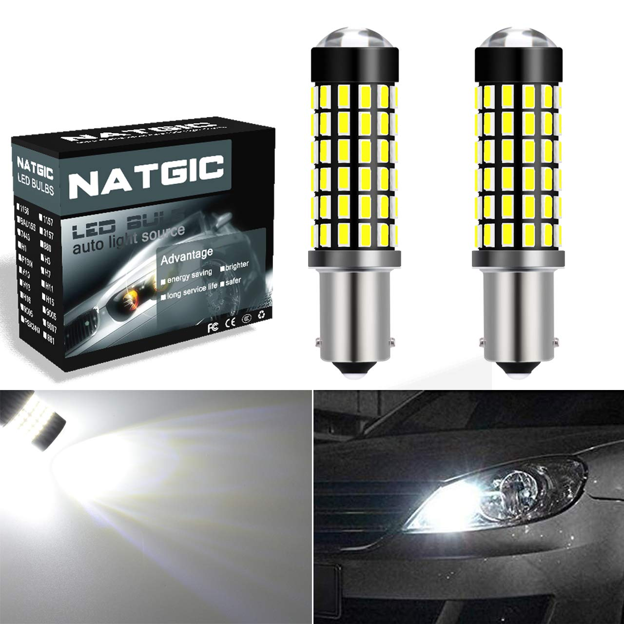 Ngcat 2pcs 900 Lumens 3014smd 78 Ex Chipsets H11 H8 H9 Led Bulbs With 4w Fluorescent Lamp Driver