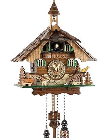 Reloj de cuco de la Selva Negra de madera auténtica con mecanismo de cuarzo a pilas