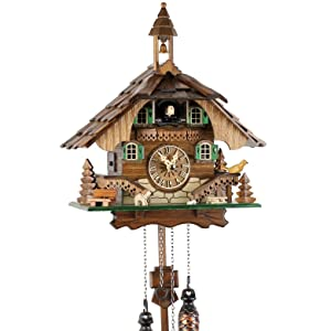 Lrg Wooden with Roundabout Qtz Cuckoo Clock 2 birds//Stag