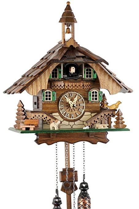 8e35c15adea9 Reloj de cuco de la Selva Negra de madera auténtica con mecanismo de cuarzo  a pilas ...
