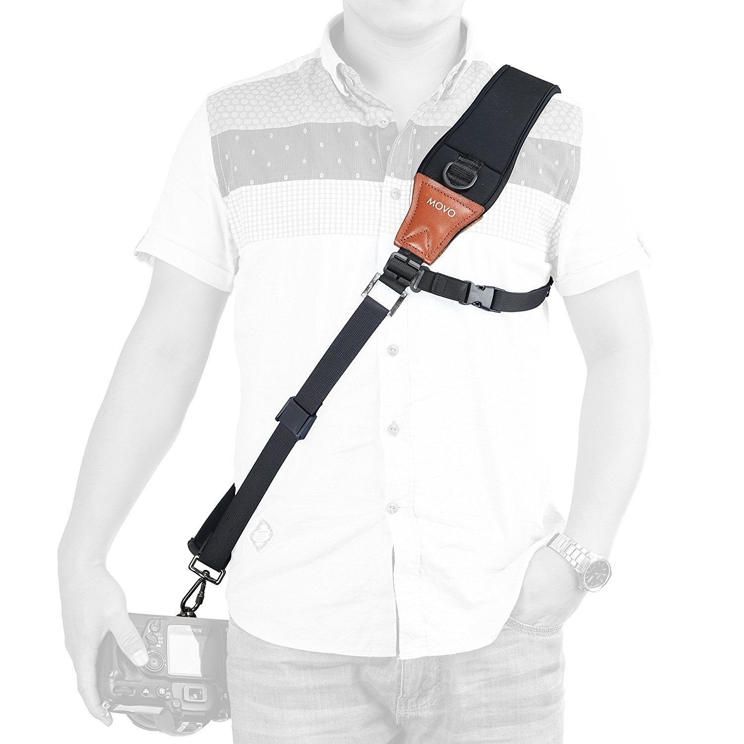Movo MP-SS7 Rapid Action Over-The-Shoulder Camera Sling Strap with Quick Release Clip /& Neoprene//Vintage Leather Shoulder Pad