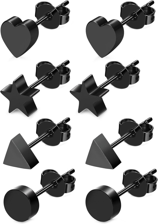 JOERICA 4 Pairs Heart Stainless Steel Stud Earrings for Women Girls Star Earrings