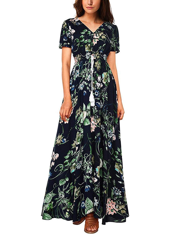 af0df470b95e1 H Dresses Summer Dress Women Maxi Sundress Button Up Split Floral ...