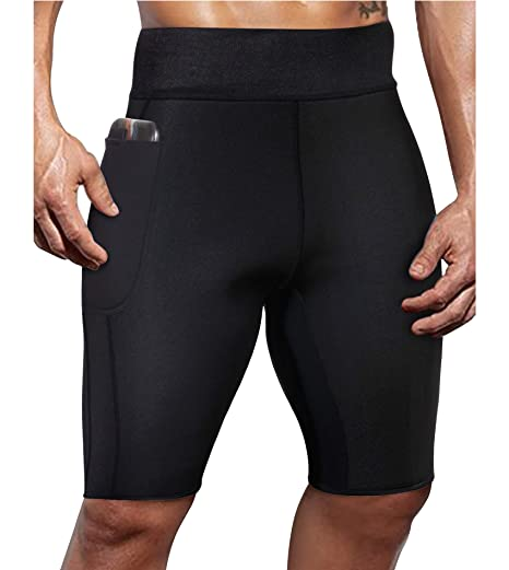 36c4bca03c6945 Ursexyly Mens Workout Shorts Running Compression Gym Active Pants Tights  Jammers Swimsuits (Black Sauna Pant