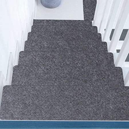 WUYANSE Alfombrillas para alfombras con peldaños, Alfombrilla Adhesiva Antideslizante Alfombrilla para escaleras Lavable, Gris Claro y Gris Oscuro: Amazon.es: Hogar