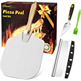 HOMENOTE Aluminum Pizza Peel with Foldable Wooden Handle, 12''x14''& 14''Pizza Cutter&Pizza Server and silicone brush, Easy S