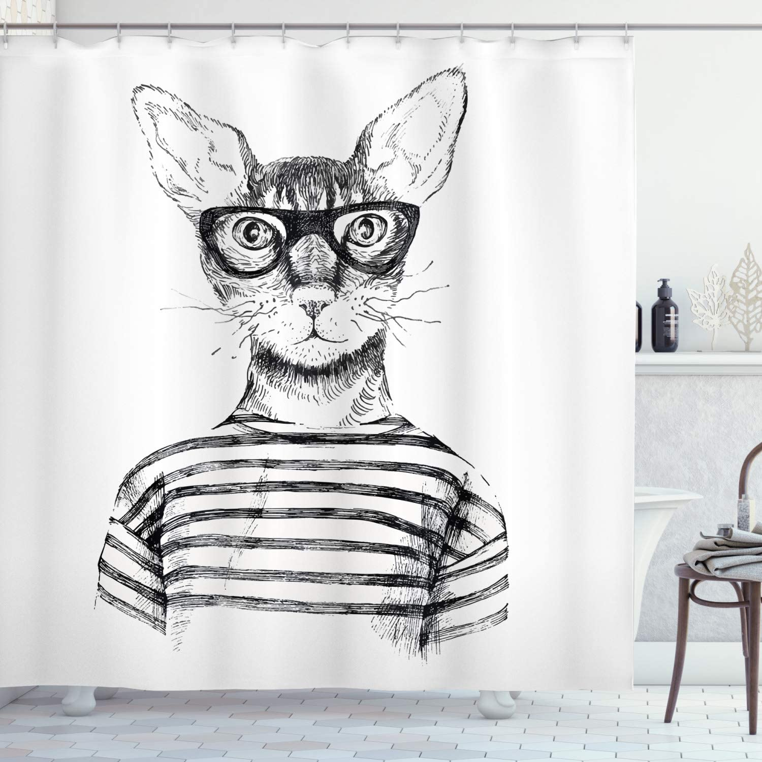 "Ambesonne Cat Shower Curtain, Hand Drawn Dressed up Hipster New Age Cat Fashion Urban Free Spirit Artwork Print, Cloth Fabric Bathroom Decor Set with Hooks, 75"" Long, Gray White"