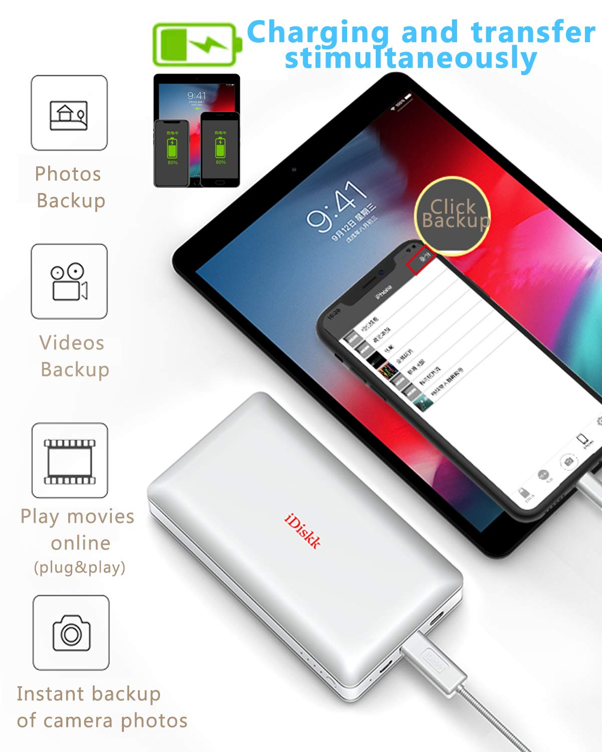 1000GB (1TB) Hard Drive External Storage for iPhone 5/6/7/8,X,XR,XS MAX,new iPad Pro and MacBook and PC,USB+USB C Data Photos Backup Flash Drive (APP management for iOs 7/8/11/12),iDiskk MFi Certified by iDiskk (Image #6)