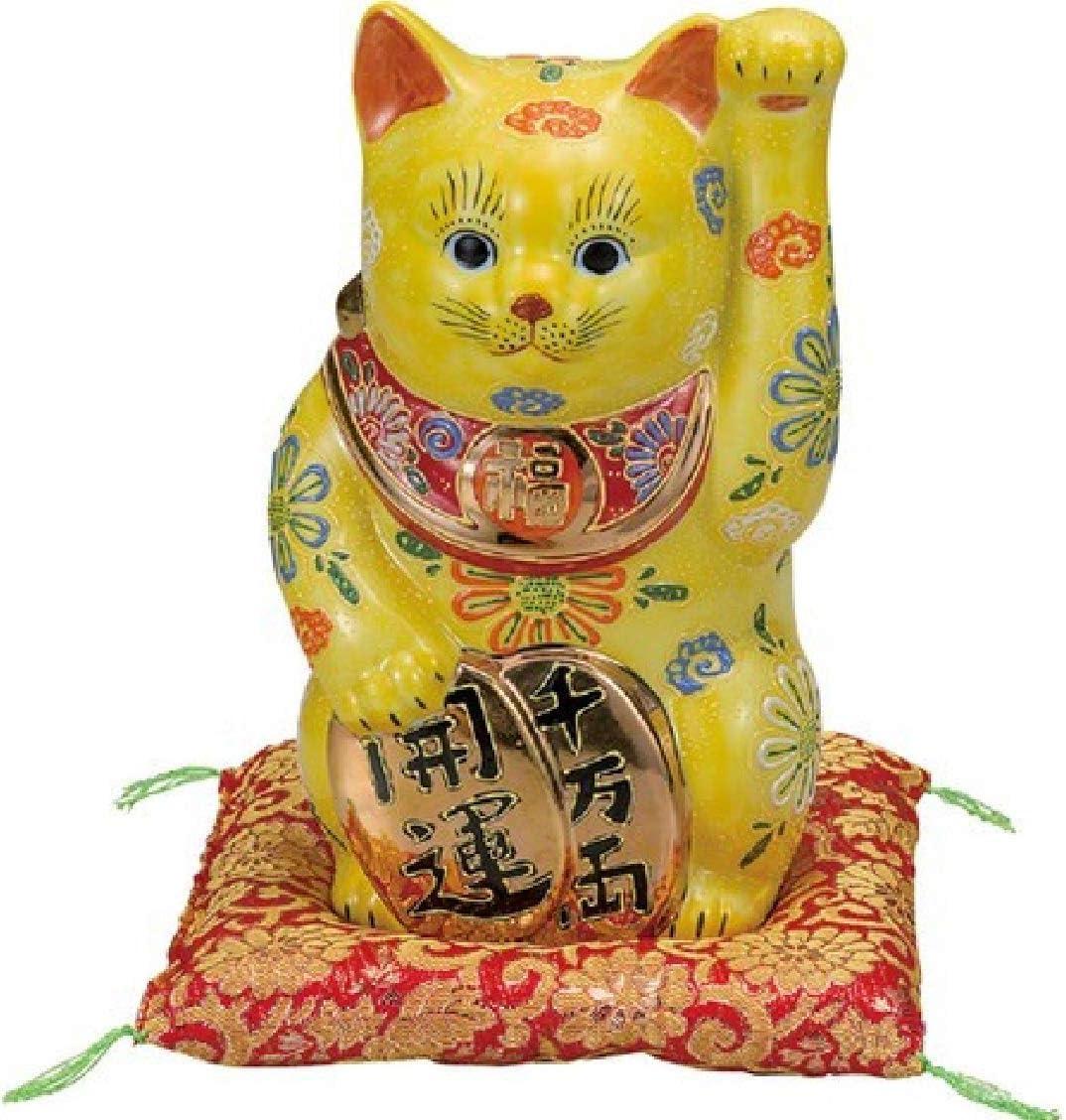 【九谷焼】 8号小判招猫(布団付) 黄盛 座布団付き 紙箱入り
