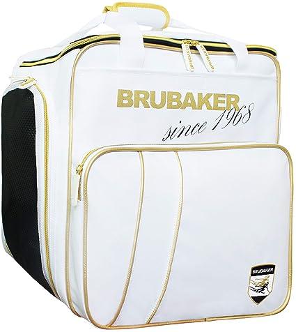 Brubaker Grenoble - Bolsa de Deporte - Mochila para Botas de esquí + Casco + Accesorios - Color Blanco/Dorado