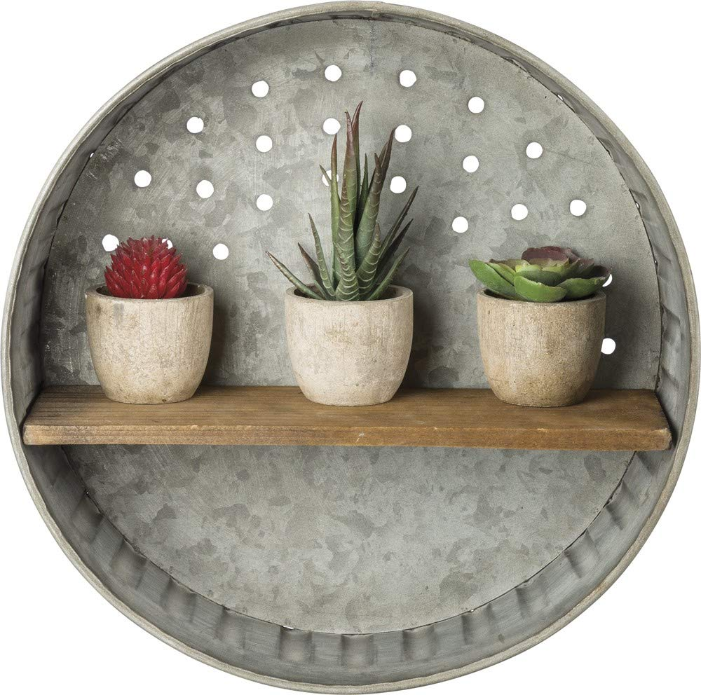 Primitives by Kathy Rustic-Inspired Wall Shelf, Metal and Wood by Primitives by Kathy