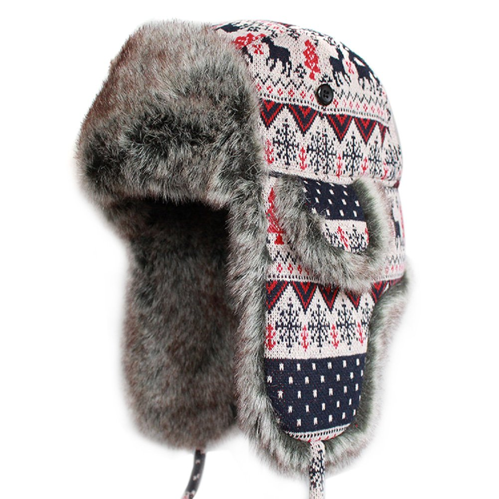 LITHER Knitted Russian Women Winter Aviator Trapper Hat with Faux Fur Lining Hat