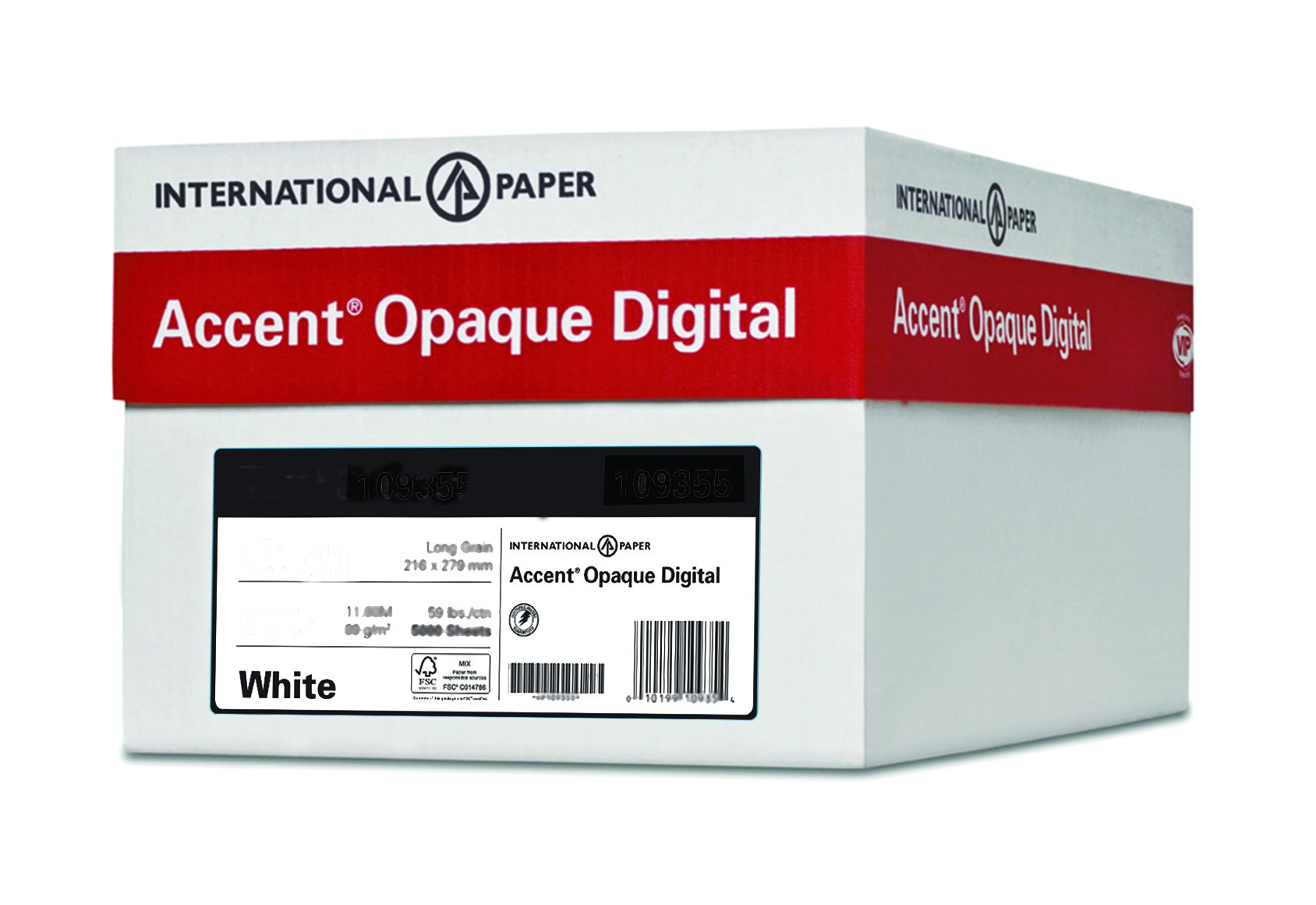 Accent Opaque, Super Smooth Cover White, 65lb, Letter, 8.5 x 11, 97 Bright, 2,500 Sheets / 10 Ream Case, Made in The USA