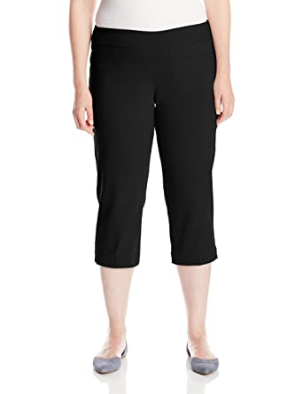 787b0d8a063 SLIM-SATION Women s Plus Size Wide Band Pull on Straight Leg Capri with  Tummy Control at Amazon Women s Jeans store