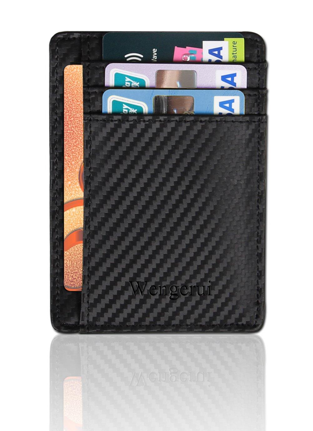 Portefeuilles RFID Poche Avant pour Homme-Blocage RFID en cuir véritable minimaliste (Noir)
