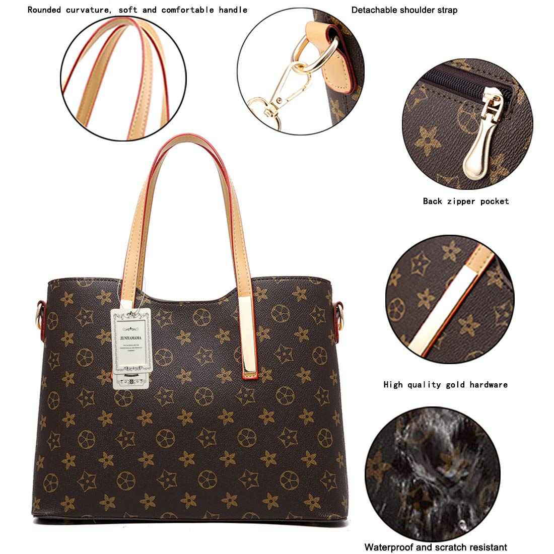 ZUNIYAMAMA Waterproof Scratch Resistant Synthetic Leather Lady Top Handle Handbags Set for Women Purses Shoulder Bag Fashion Tote Bags Casual Daypack by ZUNIYAMAMA (Image #3)