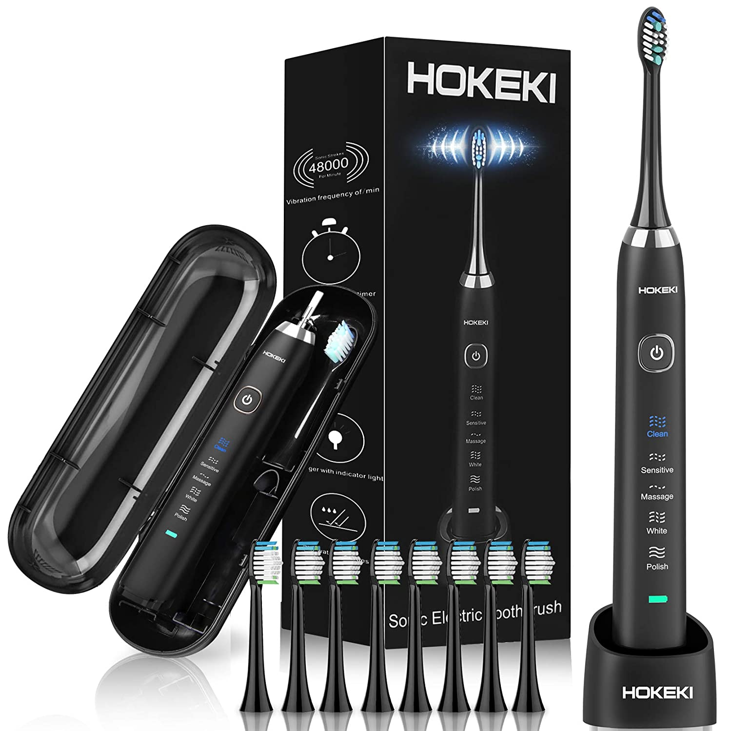 Wireless Charging Sonic Electric Toothbrush Whitening Toothbrush Rechargeable With 8 DuPont Brush Heads Travel Case, Adult Waterproof Ultrasonic Toothbrush with 5 Modes Smart Timer by HOKEKI