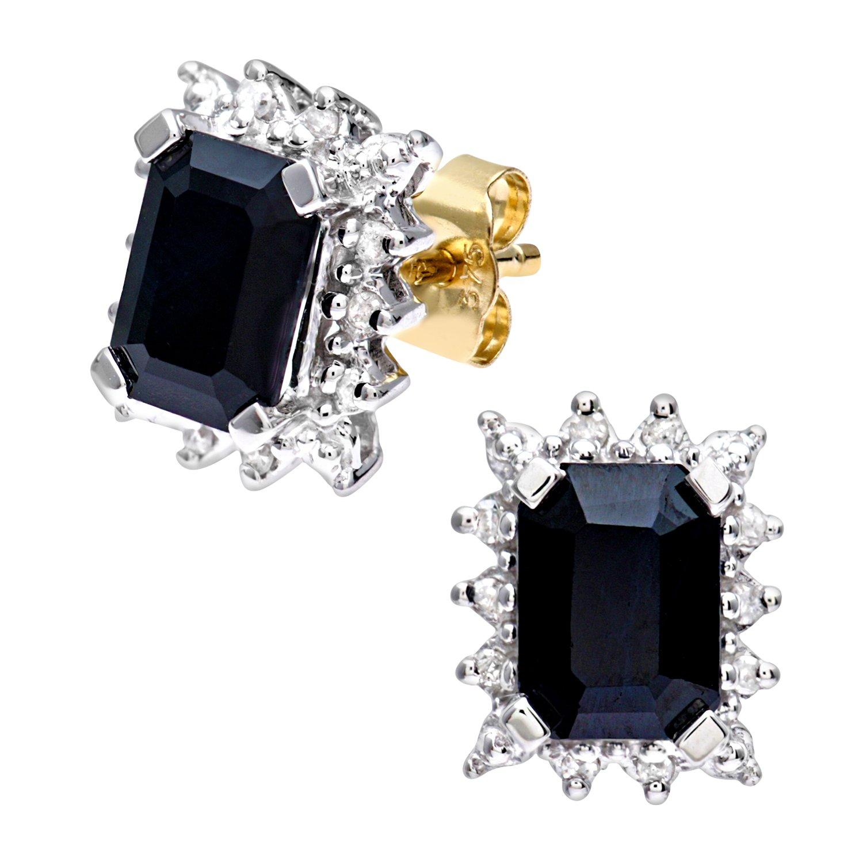Naava Pendientes para Mujer de Oro Amarillo K con Diamantes y Zafiros