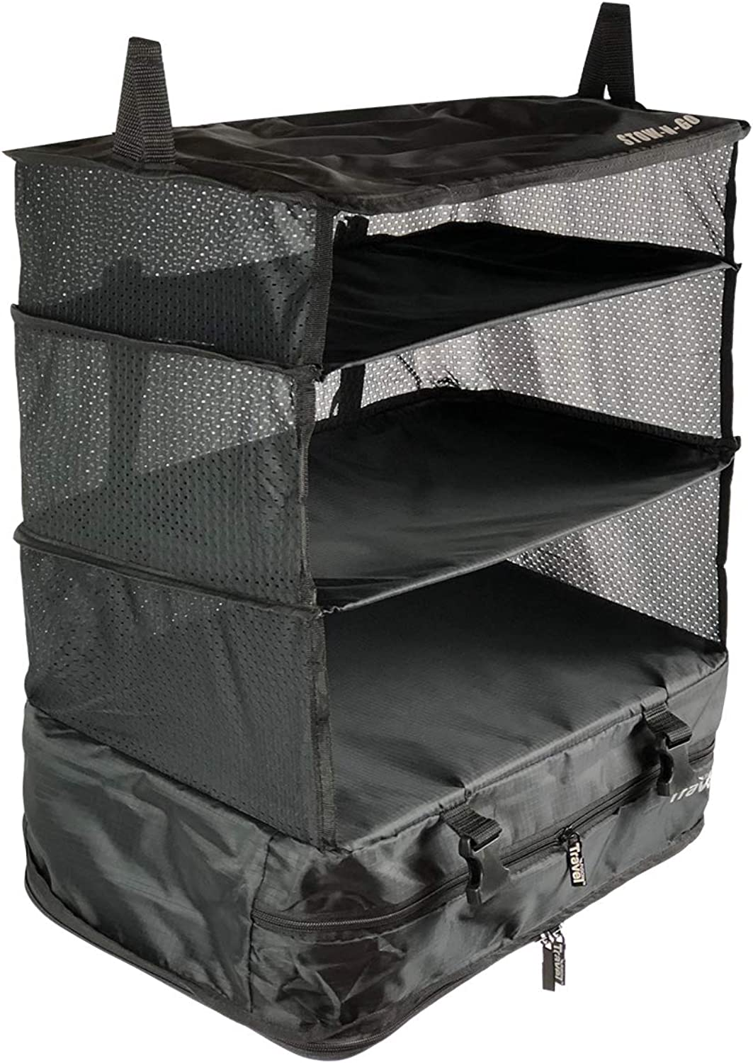 Stow-N-Go Portable Luggage System Hanging Shelves and Travel Organizer Large Black