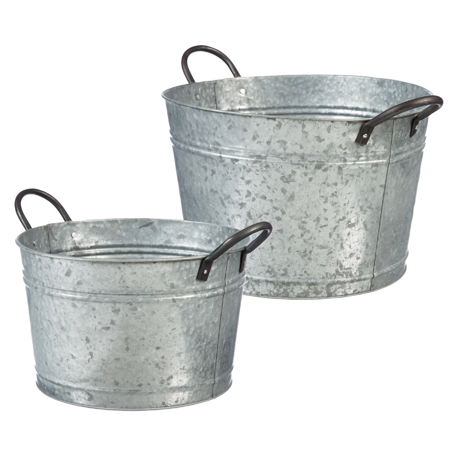 Evergreen Garden Urban Garden Galvanized Metal Buckets, Set of 2