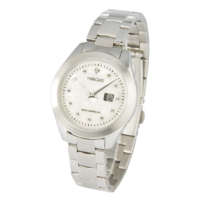 Elegante MARQUIS Damen Funkuhr (Junghans Uhrwerk) Gehäuse und Armband aus Edelstahl 964.4780